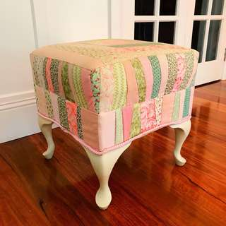 Nursery Ottoman (Handmade) in Pastel Pink and Green Vintage Re-Upholstered