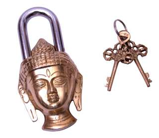 Brass Buddha antique unique padlocks