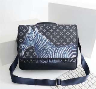 Louis Vuitton messenger bag black with animals