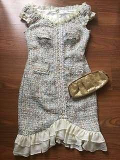 Tweed Chanel Inspired Vintage Cream Dress