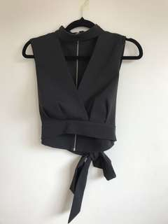 Cropped plunge top with tie up bow