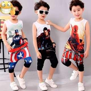 童無袖休閒套裝  NT$265/套 ,預訂, 款式:蜘蛛人,美國隊長,超人
