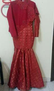 Original songket red and gold