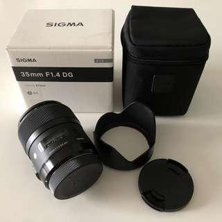 Sigma 35mm f1.4 DG HSM Art Lens (EF canon mount)