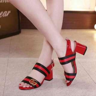 Gucci Block Heels Red