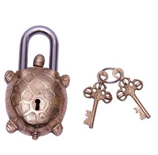 Brass turtle keyed unique antique padlocks