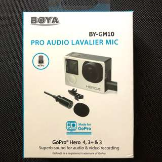 BOYA BY-GM10 Pro Audio Lavalier Microphone Mic for GoPro HD Hero 4 3+ 3 Camera