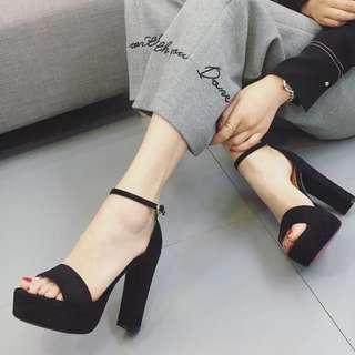 Black sandal wedges heels
