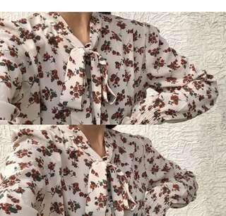 Floral tie blouse