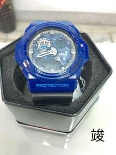 🚚  CASIO G-SHOCK 黑藍配色,有型時尚,自改錶帶,不會撞錶!!GA-300A-2A 經典不敗款 百搭有型
