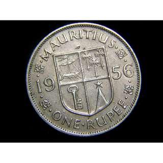 1956年英屬毛厘求斯(British Mauritius)殖民徽1盧比(Rupee)鎳幣(英女皇伊莉莎伯二世像)