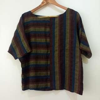 Linen Semi-cropped Top Blouse