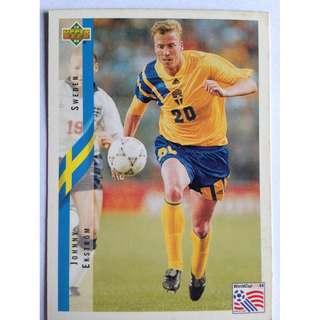 Johnny Ekstrom (Sweden) Soccer Football Card #98 - 1994 Upper Deck World Cup USA '94