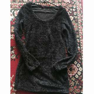 Blouse Fur hitam