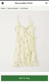 Authentic Abercrombie and Fitch Wrap Mini Dress in Light Yellow Floral