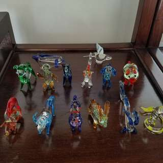 small glass Zodiac animals (12p) + 2a dolphin & bird