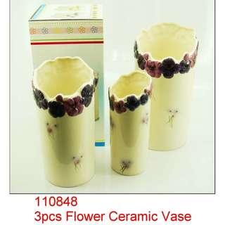 Ceramic Vases w/ Floral Design- 3 Piece Set