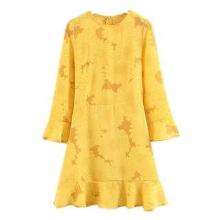 Vintage Sunflower Print Thin Straight Yellow Dark Pattern Long Sleeve Neck Dress Skirt