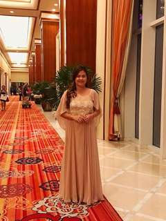 Formal Long Gown (Nude Color with Beads)