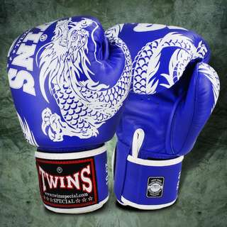 Twins Special Muay Thai Gloves – Dragon  – Blue/White – 12 oz