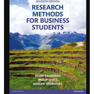 Research Methods for Business Students (7th Edition) - BK2009