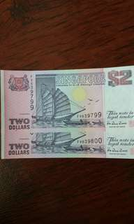 2 pcs Singapore $2 ship series running no.