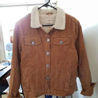 Corduroy Brown Jacket with faux fur lining