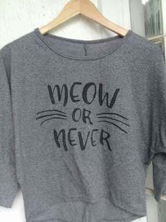 Meow or Never Gray Sweather