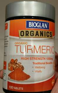 Organic Turmeric -100 Tablets per bottle; 1000mg