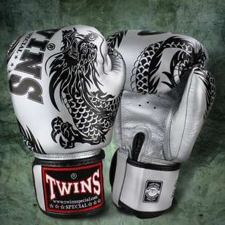 Twins Special Muay Thai Gloves 'Dragon' Silver/Black – 12 oz