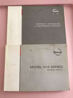 Nissan N16 Sunny Manual & Maintenance Booklets