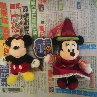 香港迪士尼版米奇+米妮公仔吊飾