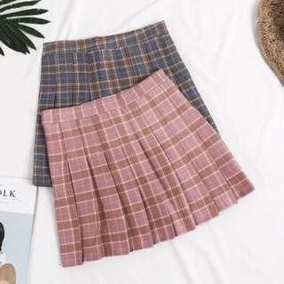 Ulzzang pink plaid skirt
