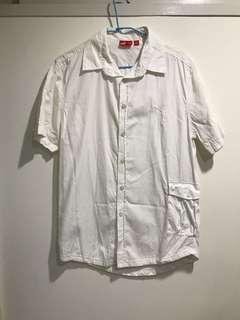 🚚 Puma 古著 白色 短袖襯衫 長版 寬版