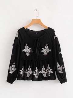 🔥Europe Loose Retro Embroidery Long Sleeve Shirt