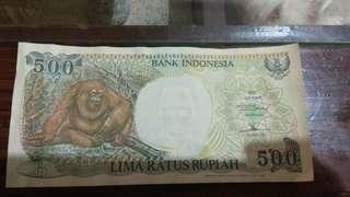 Uang kuno kertas Rp 500 tahun 1992