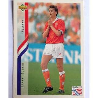 Johnny Bosman (Holland) Soccer Football Card #180 - 1994 Upper Deck World Cup USA '94