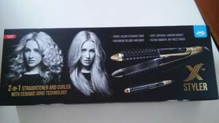 JML x Styler 2 in 1Straightener and Curler with Ceramic Ionic Technology