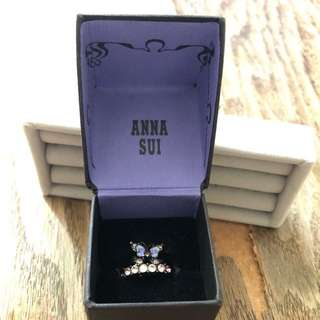 anna sui 黑色 蝴蝶 閃石 介指 一套兩隻 脫了一粒閃色及有脫色
