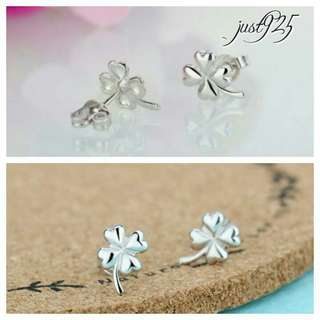 S925 Sterling Silver Four Leaf Clover Stud Earring