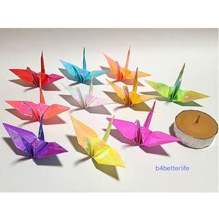 "#FCA-14. Lot of 80pcs Assorted Colors 3-Inch Origami Cranes Hand-folded From 3"" x 3"" Square Paper. (AV paper series)."