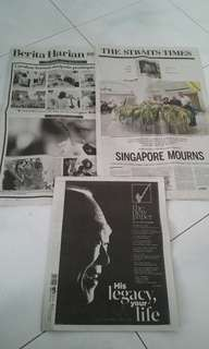 Newspaper report on the death of Mr. Lee Kuan Yew.