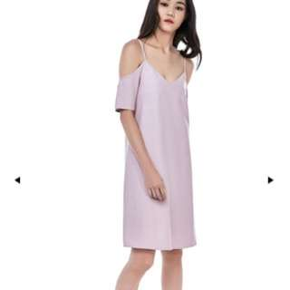 tem morley cold-shoulder dress dust pink
