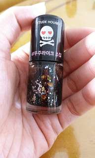 Etude black glittery nail colour