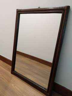 Mirror in cane frame