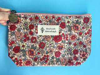 Floral Vintage Cosmetic Makeup Waterproof Zipper Nylon Pouch | Lady Travel Cosmetics Make Up Flower Prints Organizer Bag