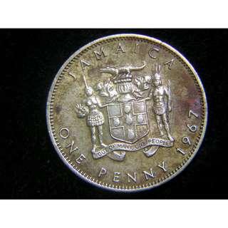 1967年牙買加土著大鱷殖民徽1便士黃銅幣(英女皇伊莉莎伯二世像)
