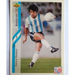 Sergio Vasquez (Argentina) Soccer Football Card #236 - 1994 Upper Deck World Cup USA '94