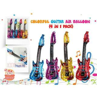 *FREE DELIVERY to WM only / Ready stock* 4pieces balloons guitar (without air) each as shown design/color. Free delivery is applied for this item.