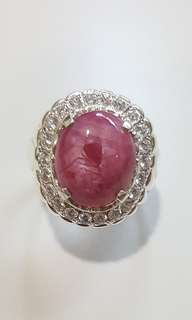 (FOR SALE) Natural Burma Star Ruby 925 Silver Custom-Made Ring